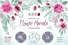 Watercolor floral marsala by BrushArtDesigns on @creativemarket