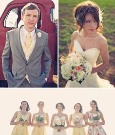 I like the top of the wedding dress, the overall tux on the groom, and I like how the maid of honour has a different print dress than the rest of the bridesmaids.