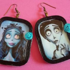 Orecchini #handmade #earrings #orecchini #victorian #victorvandort #horror #dead #31october #pinup #rockabilly #gothic #film #movie #corpsebride #sposacadavere #emily #victor #timburton #goth #dark #livingdead #halloween #13 #blue #kawaii