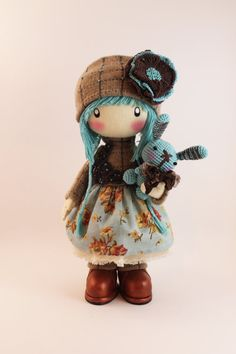 RAG DOLL - Zooey made to order handmade 13 inch clothes girls brown and turquoise