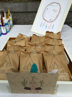Kids Teepee Birthday 4x6 Favor Bags, Set of 25 by WithLoveAndInk on Etsy https://www.etsy.com/listing/200242021/kids-teepee-birthday-4x6-favor-bags-set
