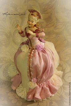 Купить Игольница Madame Zefir - сиреневый, игольница, Будуарная кукла, фарфоровая half doll