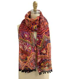 Pink Multi Color Paisley Scarf