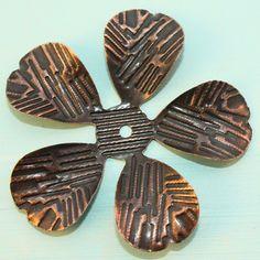 Copper Iron Flower Bead Caps (12pcs) C30