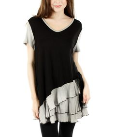 Another great find on #zulily! Black & Gray Tiered-Ruffle Tunic by Lily #zulilyfinds