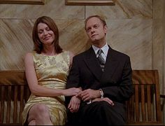Niles and Daphne- sitting in the hallway of the courthouse after her 2nd wedding to Niles just to please her mom.......just an old married couple they are!