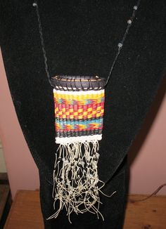 Cherokee style necklace made from ash splint, waxed linen, beads.  Each one is unique.  $55