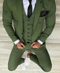 Green Wedding Tuxedos Slim Fit Men's Business Suit Jacket + Pants + Vest Men's Suits Two Buttons Wedding Suits Groomsmen Tuxedos Party Prom Tuxedo Wedding, Wedding Suits, Wedding Tuxedos, Green Wedding Suit, Prom Tuxedo, Wedding Parties, Wedding Men, Mens Fashion Suits, Mens Suits
