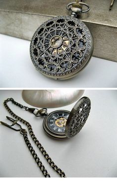 Antique Bronze Pocket Watch - 1882's Steampunk Mechanical Pocket Watch with Pocket Watch Chain ( etsy :: www.etsy.com/... )