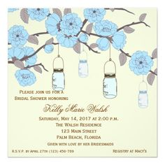 Country Rustic Mason Jar Bridal Shower Invites. Perfect for a shabby chic shower!