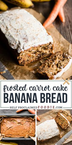 Carrot Cake Banana Bread is the best of both worlds! Super moist, perfectly sweet, and glazed to perfection - you won't be able to stop at one slice! #bananabread #carrotcake #frosting #glazed #moist #recipe #creamcheese