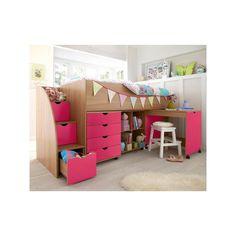 Kidspace Milo Mid Sleeper Kids Bed Frame with Storage Steps