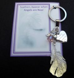 Feathers Appear when Angels are Near Remembrance Sympathy Keepsake Key Ring Gift Crystal Guardian Angel Silver Plated Feather by JanbroCharmingGifts on Etsy Remembrance Gifts, Memorial Gifts, Organza Gift Bags, Key Rings, Feathers, Silver Plate, Angels, Personalized Items, Crystals