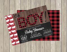 Lumberjack Buffalo Plaid Baby Shower Invitation- Digital File- Printable- DIY #lumberjackshower