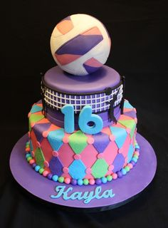 volleyball cakes | Volleyball Theme Sweet 16 Cake - Specialty Cakes by Petrina, LLC
