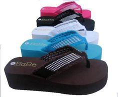 SEXY Studded Strap Platform Black FLIP FLOPS Sandals Shoes sz 6 Brown Flip Flops, Pink Flip Flops, Flip Flop Sandals, Shoes Sandals, Platform Flip Flops, Chunky Shoes, Black And Brown, Black White, Hot Pink