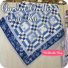Garden Trellis Quilt Kit Featuring Chambray Rose Collection by Rachel Ashwell
