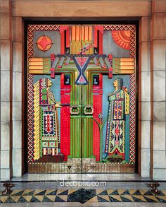 Carved wooden doors by Keith Lorenz, Nebraska State Capitol via Decopix - The Art Deco Architecture Site - Woodwork, Leather