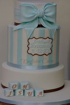 My Grandsons Christening Cake - Cake by kingfisher Baby Christening Cakes, Baby Boy Cakes, Cakes For Boys, Girl Cakes, Baby Shower Cakes, Cupcakes, Cupcake Cakes, Religious Cakes, Communion Cakes