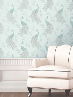 Empress Peacock Wallpaper - Duck Egg and Teal - FD40713 by Fine Decor