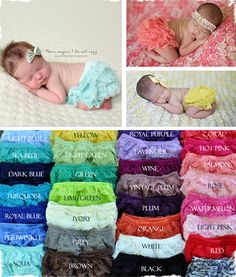 These bloomers are delicate and gorgeous, full of lace making them extra girly! Perfect for newborn photography and diaper covers under dresses/skirts for a completed look. Light weight and comfortable stretch, loose fitting around the legs. Available in 31 colors! Color Options: 1. Aqua2. Green3. Turquoise4. Light Blue5. Royal Blue6. Light Green7. Yellow8. Orange9. Royal Purple10. Lavender11. Watermelon12. Hot Pink13. Red Wine14. Red15. Vintage Plum16. Rose17. Salmon18. Light Pink19. Sandy…
