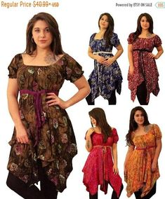 ~ LOTUSTRADERS ~ STUNNING BOHO LAGENLOOK HIPPIE GYPSY FASHION FOR MISSES AND PLUS SIZES ITEM DESCRIPTION Gloriously flowing and fabulously feminine, this pretty peasant top will quickly become one of your favorites! Designed with a comfy and easy-to-wear baby doll waistline