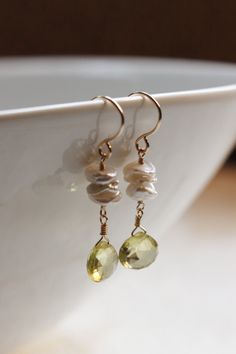 Lemon Quartz Keishi Keshi Pearls Stacked Earrings, 14k Gold Filled, June Birthstone, Wire Wrapped - Emily, by Princess Ting Ting Jewelry @ Etsy