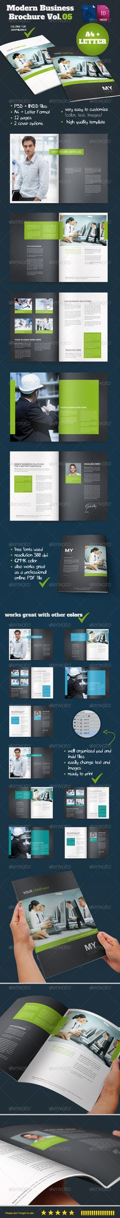 Modern Business Brochure Vol. 05  #GraphicRiver         This is a complete layout for a printable brochure. Text and images/colors are easy to change, just drop in your own text, change the images/colors and you are ready to go.   Photos used in the preview are not included… you can buy all Photos used in this brochure on .photodune    You can use this brochure for any typ of bussines or for personal usage. The layers are well organized and the files are created in order to be used by…