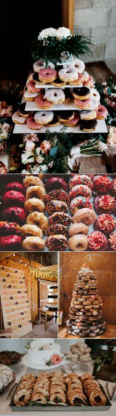 Donuts on display = way more fun alternative to wedding day dessert   photos by (clockwise from top): Matt & Tish Photography, The Shalom Imaginative, Studio-29 Photography + Design, Olivia Strohm Photography, Jamie Jones Photography