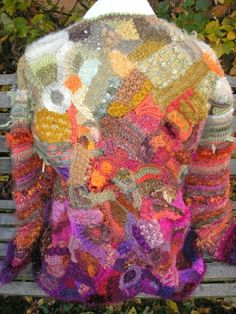 Freeform knitting and crochet scrumble.
