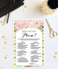Instant Download - Bridal Shower What's On Your Phone - Mint and Gold - Cell Phone Shower Game - Wedding Shower Game - Bridal Shower - DIY