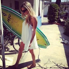 surf + white dress