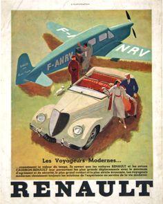 publicité parue dans le journal l'illustration - Renault, les voyageurs modernes - années 30