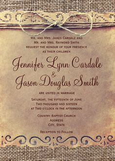 Rustic Country Vintage Printed Burlap Wedding Invitations.  Easy to edit template.  Two Sided Design.  Your Choice of Paper.  Perfect for a rustic country wedding.    #wedding