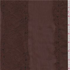 "Brown Crinkled Chiffon This lightweight, semi sheer fabric has 3.5"" embroidered lace stripes outlined with tone on tone sequins. A beautiful option for blouses, dresses, overlays and special occasion apparel. 100% Polyester 58"" wide Machine washable Compare to $10.00/yd"