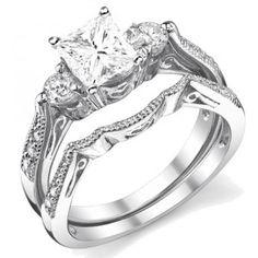 0.5 Carat Princess cut Diamond Antique Wedding Ring Set 10K White Gold
