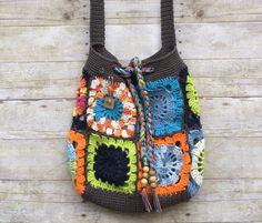 Granny Square Bag  Boho Bag  Crossover Bags  by HookInHandStudio