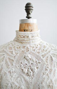 antique 1890s victorian battenburg tape lace blouse