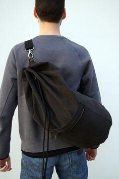 Black  sailor bag/ durable fabric. Summer bag for men.Sports bag.Gym bag. Men's style Drawstring sailor bag by KraftyCuts on Etsy