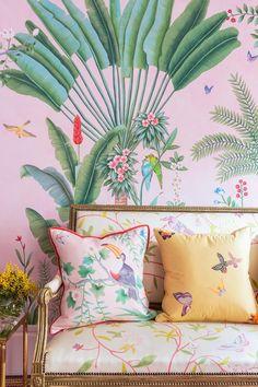 Aquazzura for de Gournay Wallpaper with yellow throw pillows