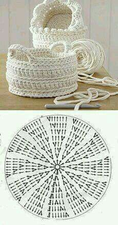 Handmade: Crochet baskets - 37 designs and . - DIY Handmade: Crochet baskets - 37 designs and . -DIY Handmade: Crochet baskets - 37 designs and . - DIY Handmade: Crochet baskets - 37 designs and . Crochet Bowl, Crochet Basket Pattern, Crochet Chart, Free Crochet, Crochet Baskets, Crocheted Bags, Crochet Potholders, Chunky Crochet, Crochet Diagram