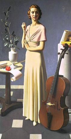 Meredith Frampton (1894-1984) - Portrait d'une jeune Femme (Portrait of a Young Woman), 1935, huile sur toile, 205,7 x 107,9 cm, Tate Modern