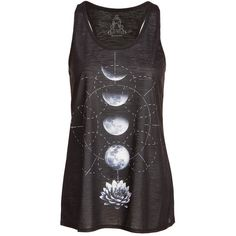 Womens Black Lotus Flower Moon Phases Yoga Loose Fit Tank Top - Size... (€21) ❤ liked on Polyvore featuring activewear, activewear tops and yoga activewear