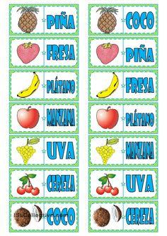 Fichas de dominó: frutas (4 páginas)