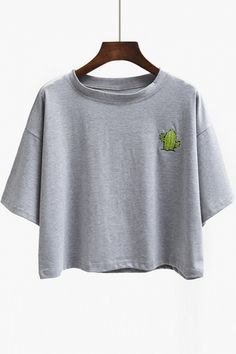Cactus Print Round Neck Short Sleeves Crop Top