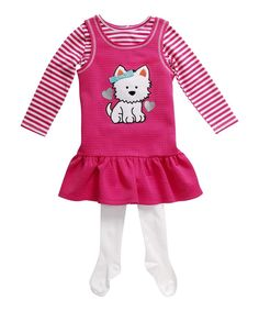 Loving this Youngland Pink & White Cat Three-Piece Jumper Set - Infant & Toddler on #zulily! #zulilyfinds