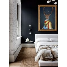 A stunning piece of ready to hang art.  There's something so very magical about the look of a Stag and the artist has captured its beauty to stunning results in this piece.  The piece is perfect for adding a striking focal point to your dining room or above your master bed or fireplace. Team with white walls, clean lines and high gloss furniture for a touch of traditional style.