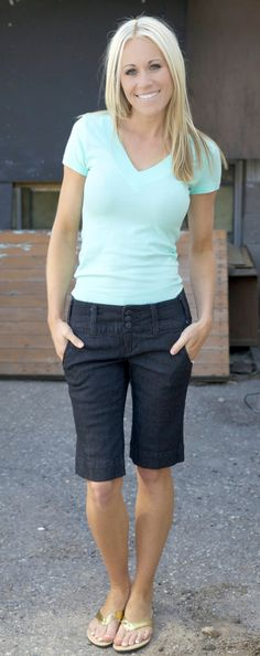 I love these Bermuda shorts - the perfect length for me. And the form flattering tee with a little sleeve - perfect.