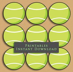 "2.5"" Green Tennis Ball Printable Cupcake Toppers by JannaSalakDesigns"
