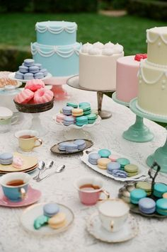 Bridal Shower tea party theme with pastel dessert table. who has that much dessert for a bridal shower? Cupcakes, Cupcake Cakes, Bundt Cakes, Tea Cakes, Mini Cakes, Desserts Ostern, Easter Desserts, Spring Desserts, French Desserts